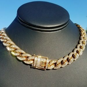 "14k Gold Electro Plated 18"" Iced Out Cuban Chain"